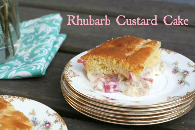 Rhubarb custard cake. A vintage cake recipe, from Cheap Recipe Blog. Repin to save!