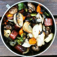 Grilled Vegetable And Ring Bologna Kebabs