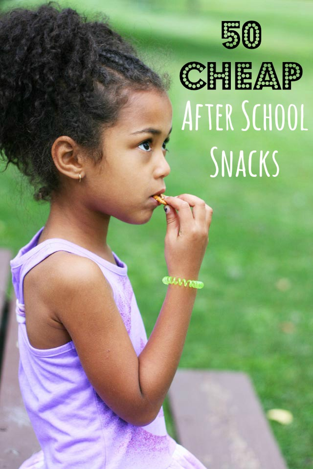 50 cheap after school snack ideas, most under $1.00. Click through for all 50 ideas.