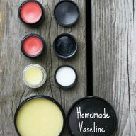 Homemade Vaseline (and tinted lip gloss) recipe from Cheap Recipe Blog