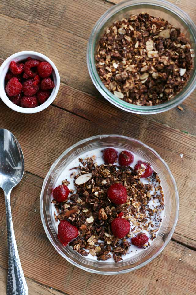 A recipe for chocolate granola, from Cheap Recipe Blog