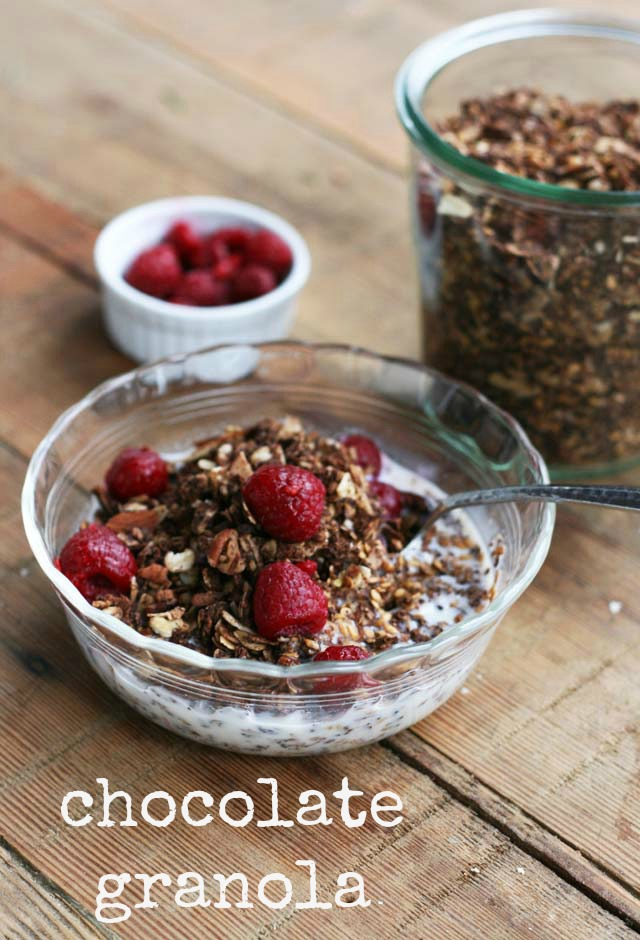 Chocolate for breakfast? Yup! This chocolate granola will give you a boost of energy for your morning.