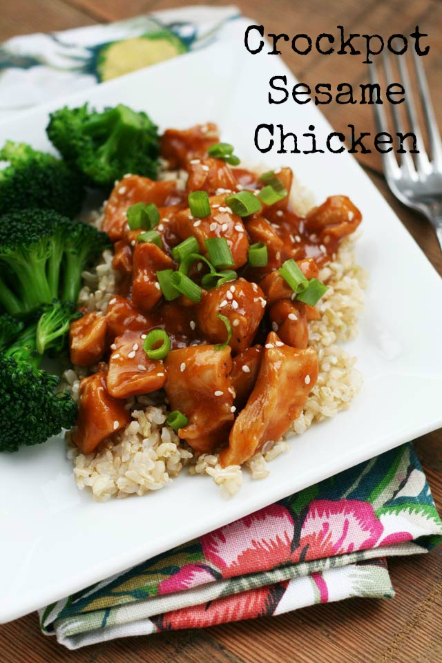 Crockpot sesame chicken. Throw everything in the crockpot and forget about it! Repin to save.