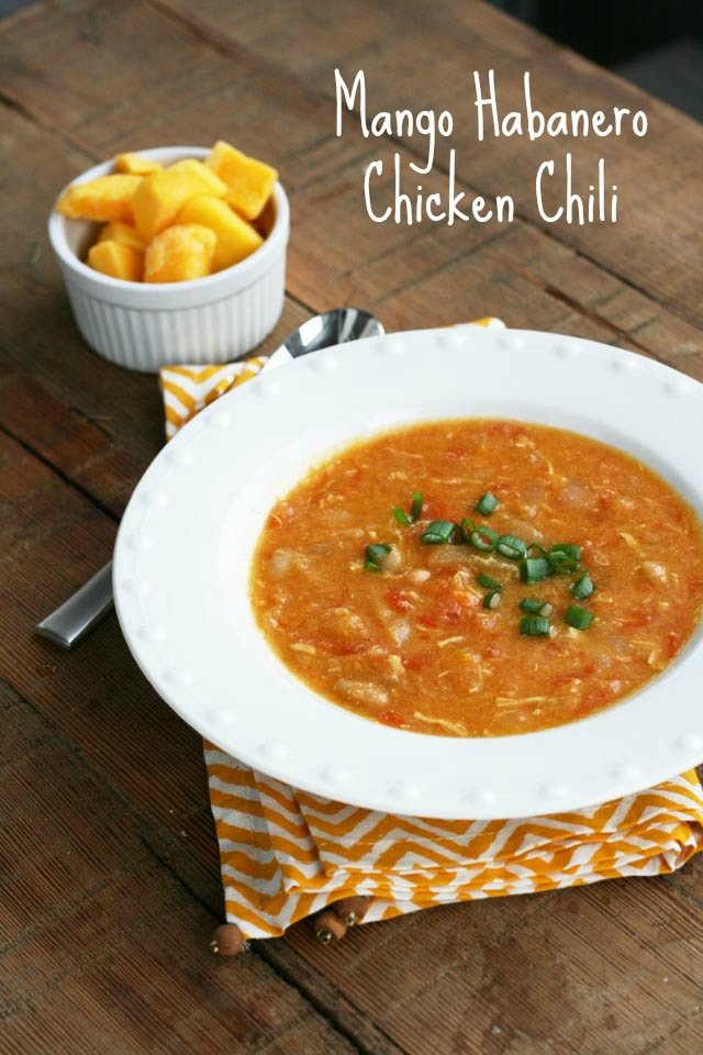 Mango habanero chicken chili recipe. A fiery chili that will warm you from the inside out! Click through for recipe.