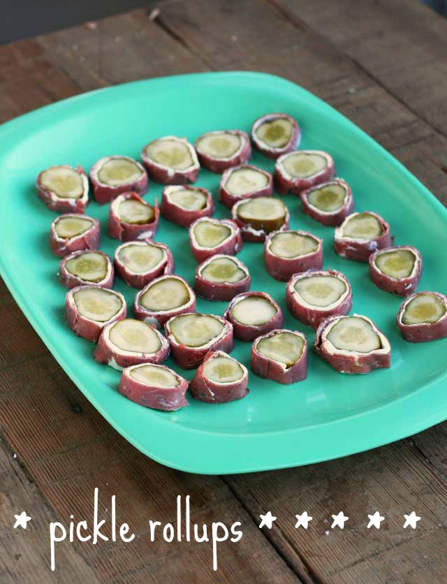 Pickle rollups: A Dill pickle, cream cheese, and pastrami (or ham). A Minnesota favorite that is easy to love.