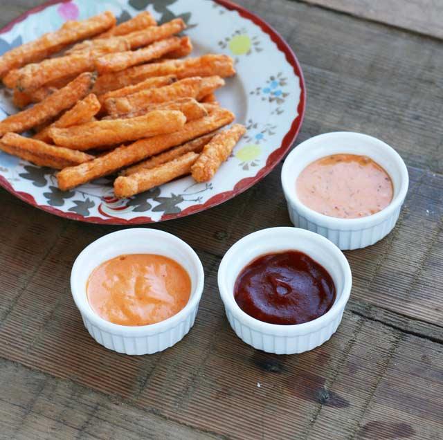 Sriracha-based sauces with sweet potato fries