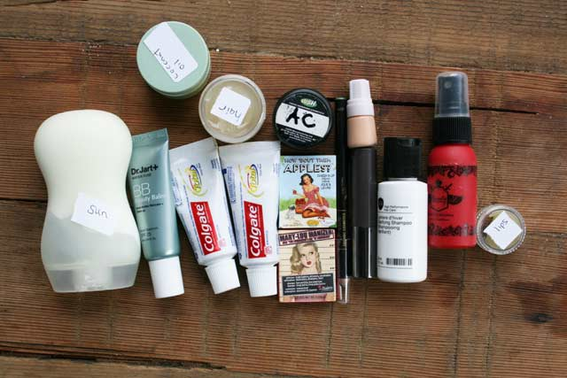 Tips for packing light (cosmetics)