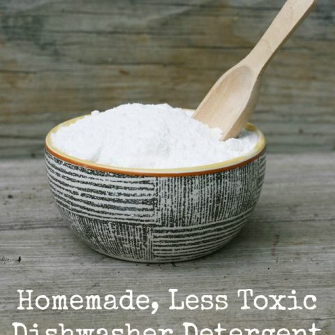 Homemade less-toxic dishwasher detergent, from Cheap Recipe Blog