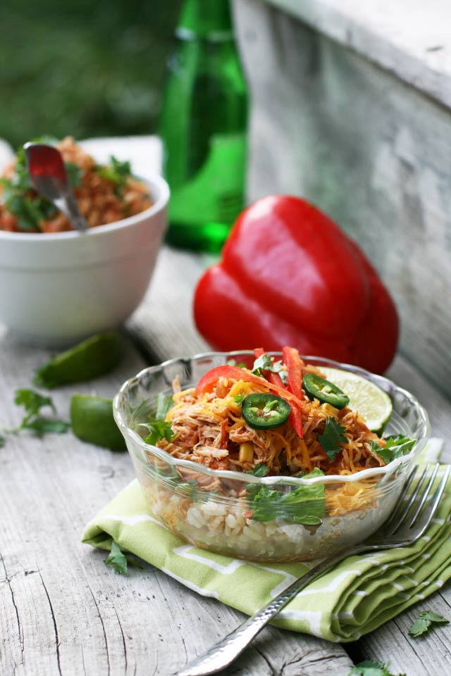 Crockpot salsa chicken bowls, from Cheap Recipe Blog