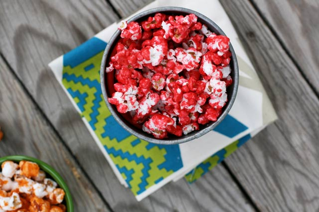 Candied Jell-O popcorn recipe. You can use any flavor of Jell-O (this one is cranberry) Repin to save.