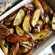 French onion roasted potatoes. Crispy oven-baked potatoes with an irresistible French onion flavor. Repin to save!