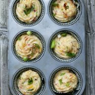 "Twice baked potato ""cupcakes"". Hands-down the most delicious way to eat potatoes! Repin to save."