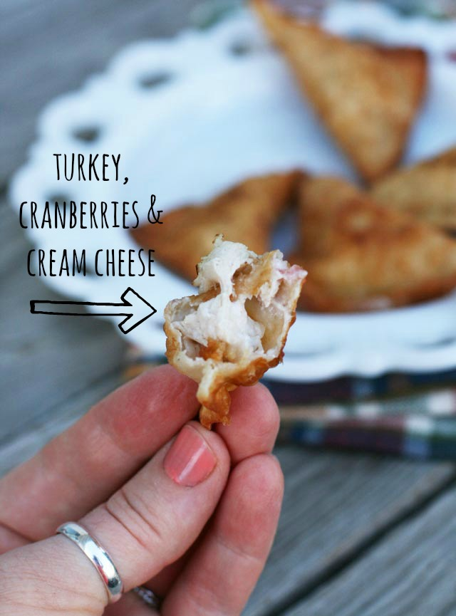 Leftover turkey, cranberries & cream cheese make delicious wontons. Repin to save!
