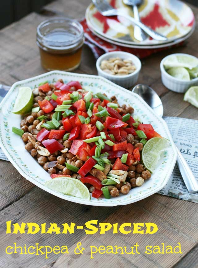 Indian-spiced chickpea and peanut salad. Lots of flavor here. Click through for recipe!
