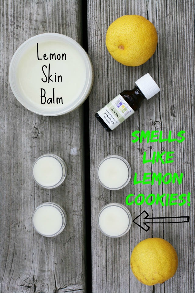 Lemon skin balm - Just 3 ingredients & smells like a lemon cookie! Repin to save.