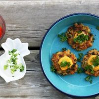 Cheesy Kale Rice Fritters