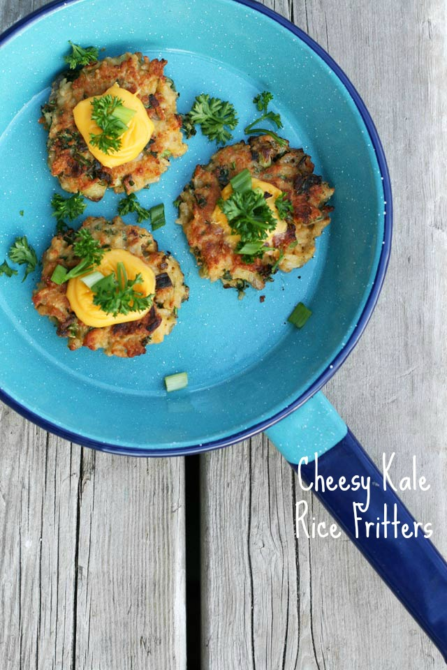 Got leftover rice? Make these delicious cheesy kale rice fritters. Save money and eat something delicious.