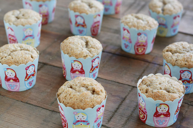 Moist banana cupcakes in cute Russian stacking doll cupcake liners. Perfect for a multiples baby shower!
