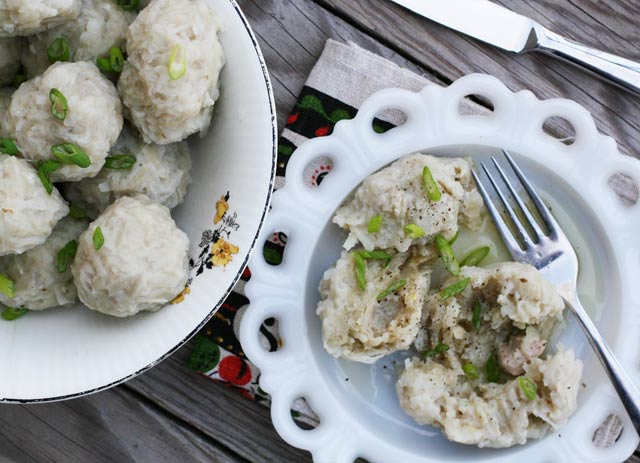 Homemade Norwegian potato klub (potato dumplings). Click through for recipe.