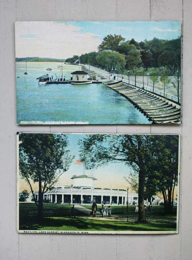 Two interesting prints of vintage Minneapolis scenes, including Lake Harriet and the Pavillion. Both found at thrift shops.
