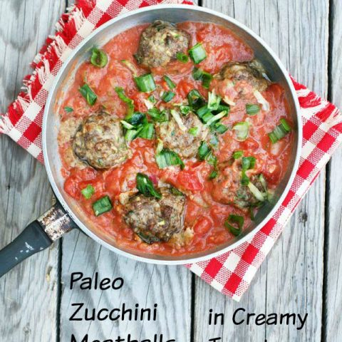 Paleo Zucchini Meatballs & Creamy Tomato Sauce