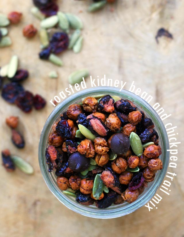 Roasted kidney bean & chickpea trail mix. A TRULY different, nut-free trail mix!