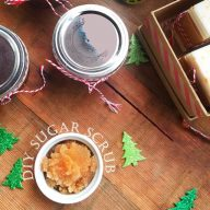 Make a batch of this scented gingerbread sugar scrub in minutes. Give as a gift!