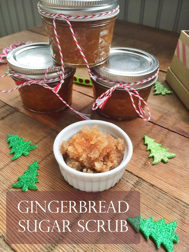 DIY gingerbread sugar scrub. Make it in your kitchen and give it as a gift!