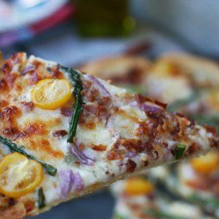 Asparagus, Blue Cheese and Bacon Pizza An An Einkorn Wheat Crust