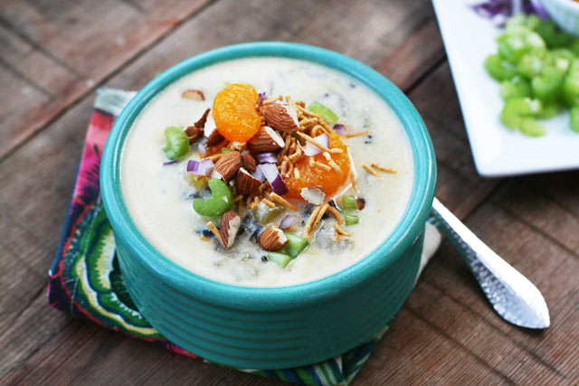 Creamy Hawaiian coconut chicken soup: A truly unique soup that's served with lots of yummy toppings. Click through for recipe!