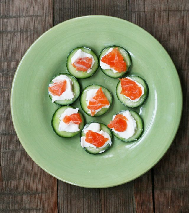 English cucumber topped with cream cheese and salmon.