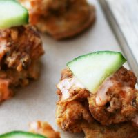Spicy Buttermilk Fried Chicken and Waffle Bites