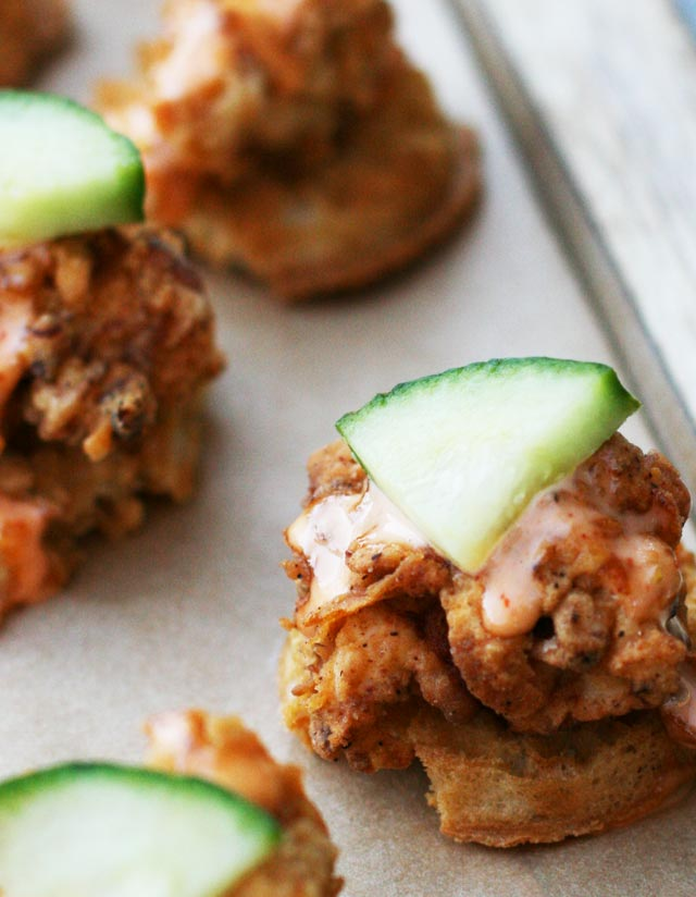 Spicy buttermilk fried chicken and waffle bites: A delicious party appetizer. All-homemade and simpler instructions included.