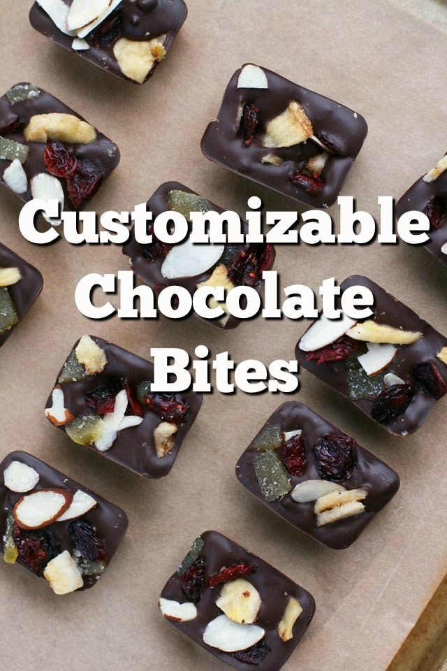 Customizable chocolate bites, made in an ice cube tray. Click through for recipe!
