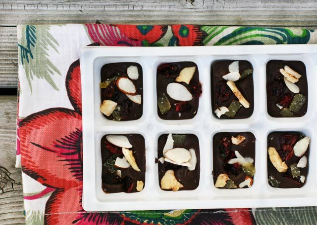 Customizable chocolate bites, made in an ice cube tray. Choose your own toppings and add-ins!