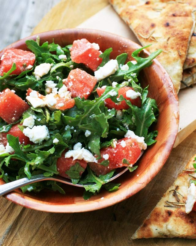 Watermelon-Feta salad: Turn this simple salad into a meal by serving on fresh focaccia bread. Click through for recipe!