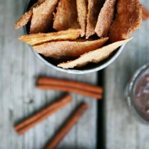 Churro Chips and Chocolate Sauce