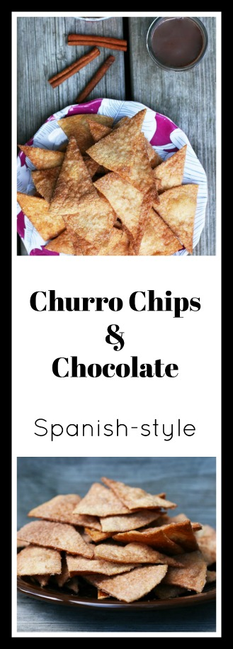 Churro chips con chocolate - A cheap dessert inspired by Spanish churros con chocolate. Click through for recipe!