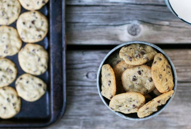 Mini chocolate chip cookies: A simple, bite-sized cookie recipe made with mini chocolate chips.