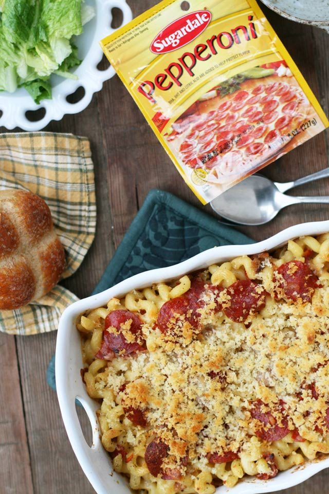 Pepperoni mac & cheese. Cheese, pasta, pepperoni - this dish is comfort food at its finest!