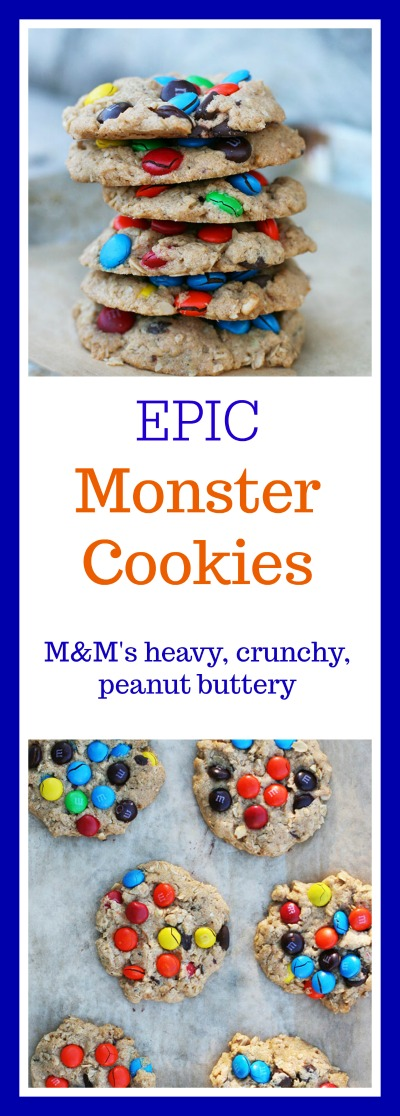 EPIC monster cookies! These are heavy on the M&M's, crunchy, and peanut buttery. Click through for recipe.