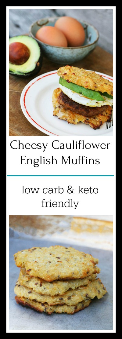 Cheesy cauliflower English muffins: Get a low carb version to create a great breakfast sandwich!