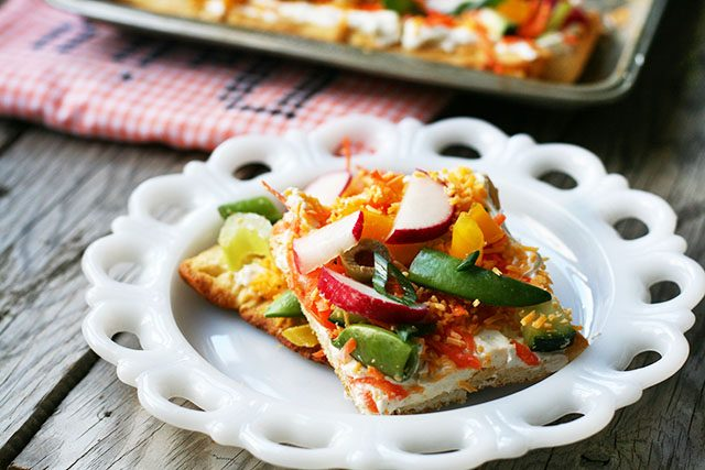 Cold vegetable pizza: A crowd-pleasing appetizer that can be made ahead of time.