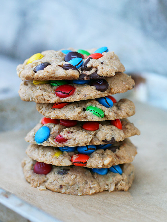 These are EPIC monster cookies -take my word! Click through for a recipe that is heavy on the M&Ms and chewy/crunchy mix.