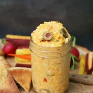 Pimento-green olive cheese spread recipe: A twist on the classic. Click through for recipe!