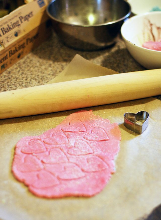 How to make cream cheese mints with a cookie cutter and rolling pin.