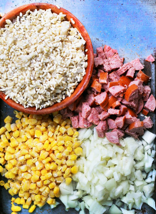 Ingredients to make ring bologna and sweet corn fried rice: Click through for recipe!