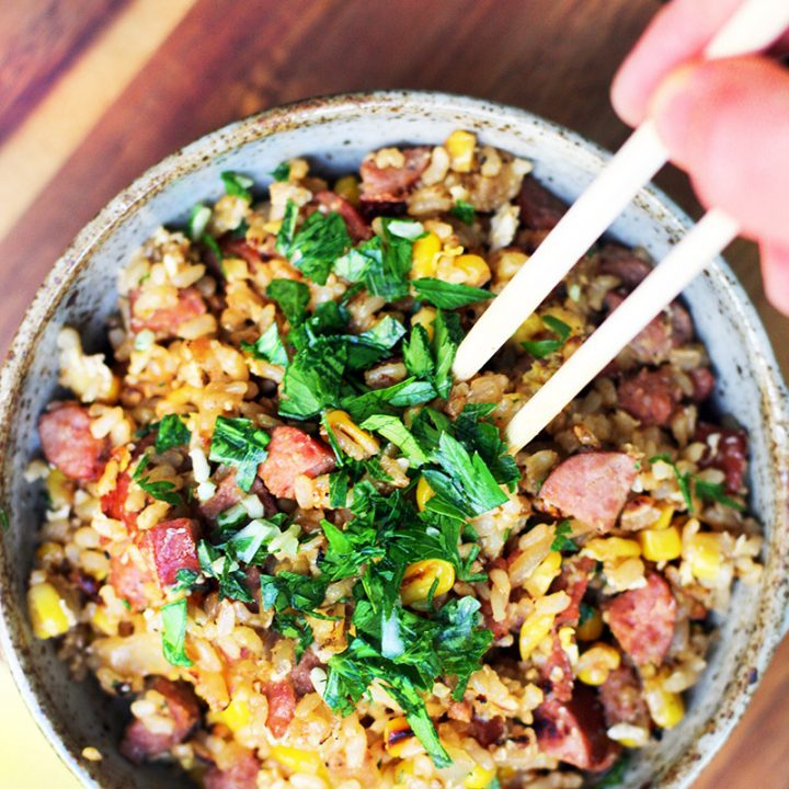 Ring Bologna And Sweet Corn Fried Rice