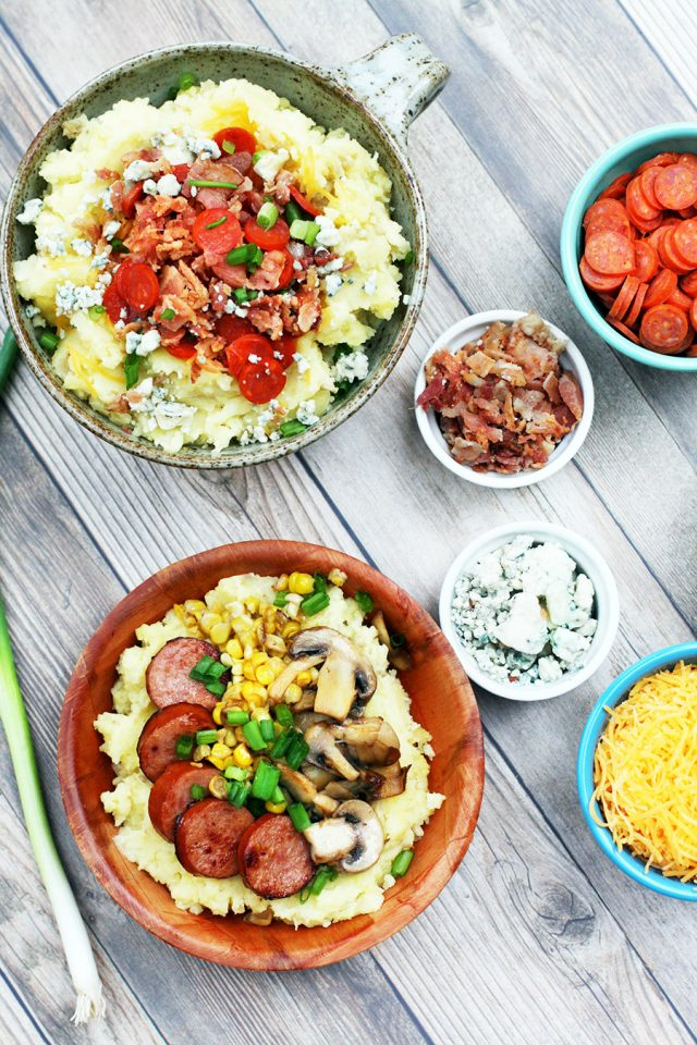 Leftover mashed potato bar: Mashed potatoes with lots of toppings! Click through for recipes.