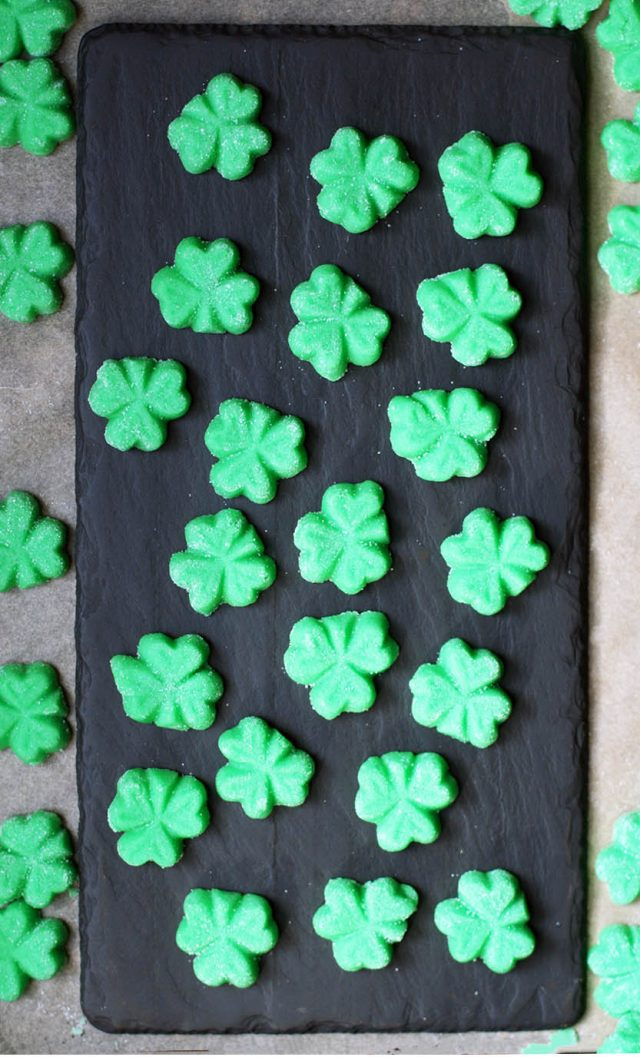 Shamrock mints for St. Patrick's Day: Using a cream cheese mint base, plus peppermint and green food coloring.